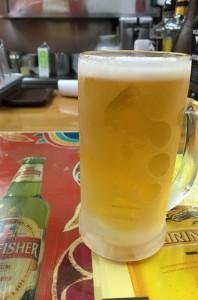 生ビール。少し小さめなジョッキ。キンキン